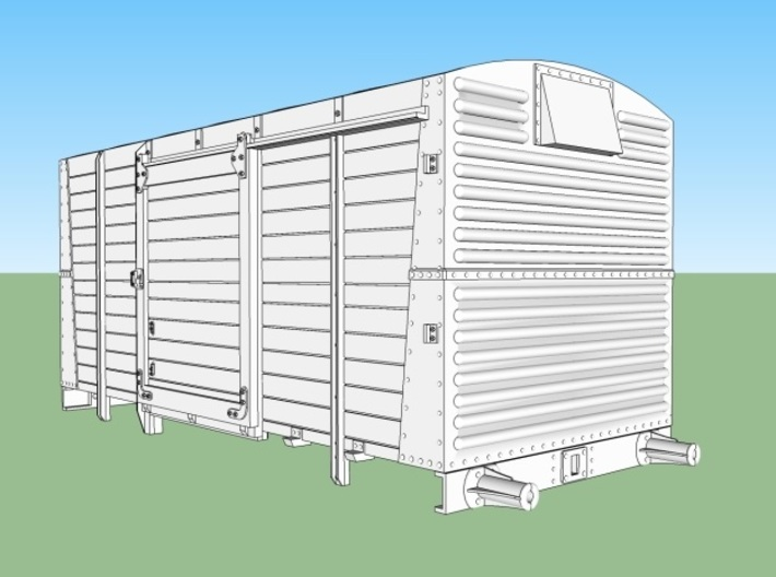 LMS 12 ton Vent Van body, no roof - 4mm scale 3d printed LMS 12ton Ventilated van - CAD image