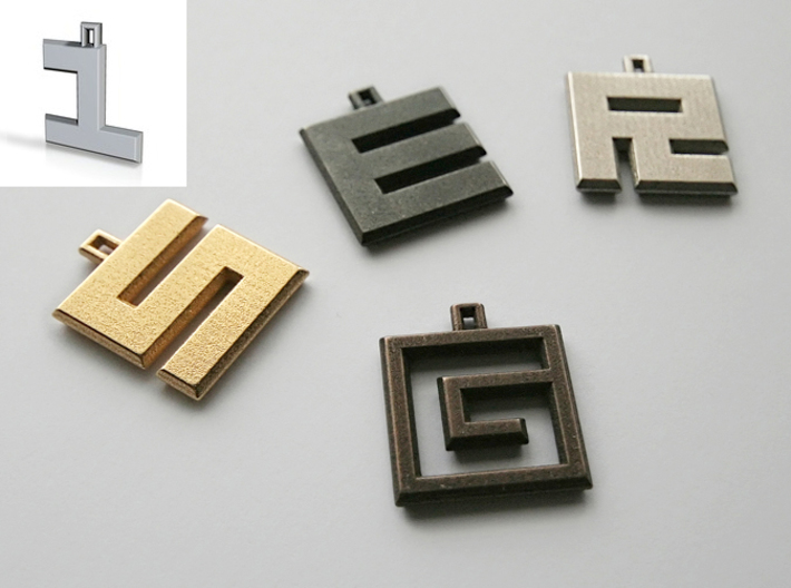 ABC Pendant - 1 Type - Solid - 24x24x3 mm 3d printed