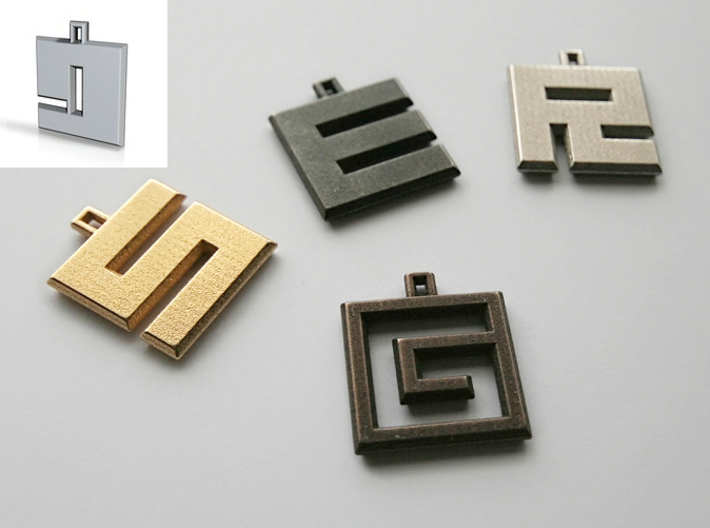 ABC Pendant - 9 Type - Solid - 24x24x3 mm 3d printed