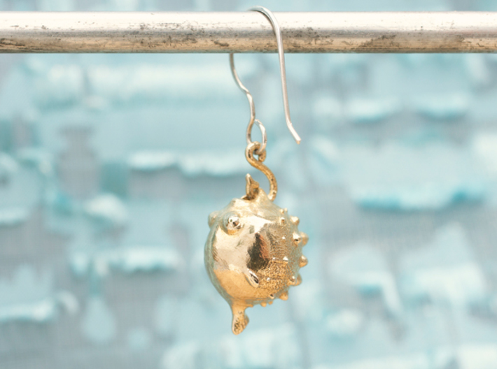 Blowfish Earrngs Hooked 3d printed
