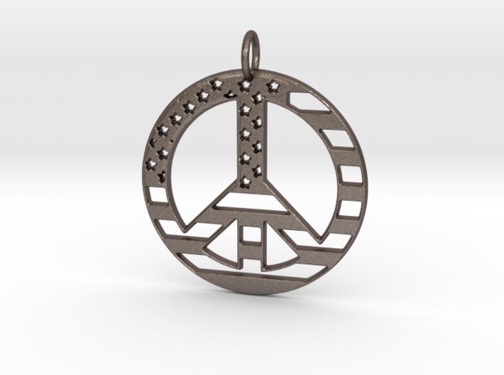American USA Flag Peace Symbol Pendant Charm 3d printed