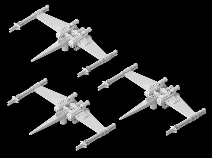 """3x Cantwell's Prototype X-Wing """"Closed"""" (1/270) 3d printed"""