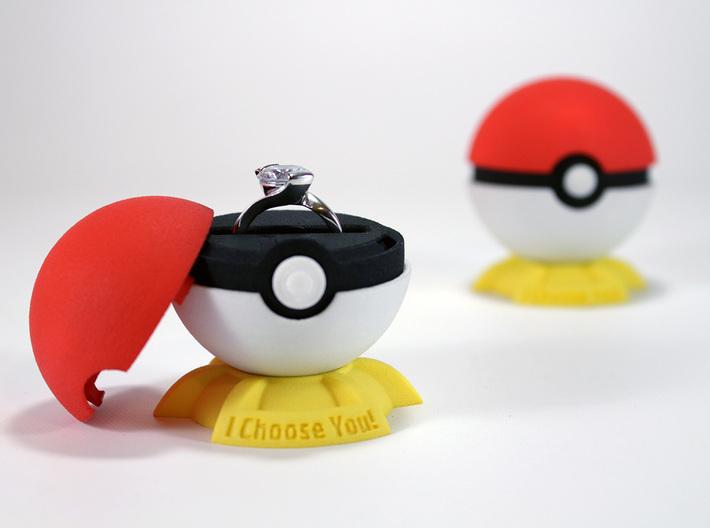 """Pokeball Pokemon Go """"Ring Box"""" (PLASTIC TOP COVER) 3d printed This listing includes only the Plastic Top Cover, buy the other parts in the links in the description."""