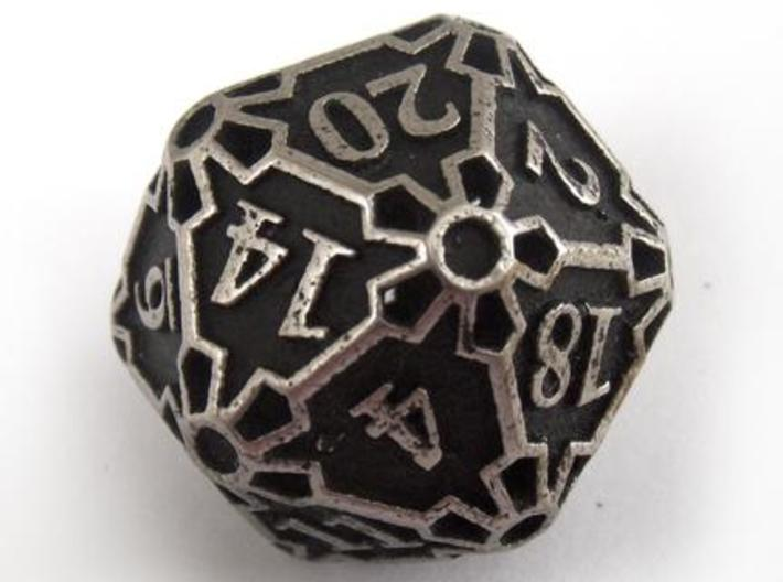 Huge Die20 3d printed In stainless steel and inked