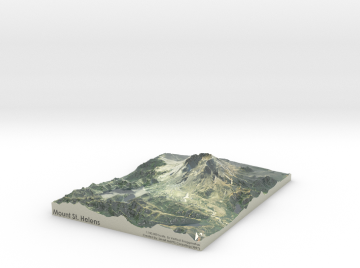 "Mount St. Helens Map: 8.5""x11"" 3d printed"