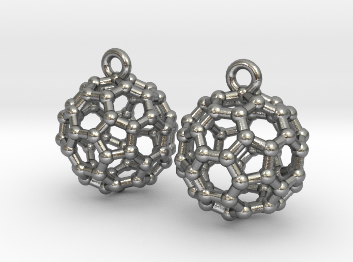 BuckyBall C60 Earrings 1 cm. 2 pieces. 3d printed