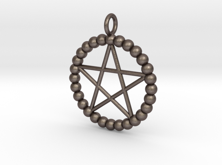 Beads pentagram necklace 3d printed