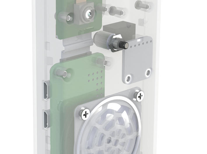 |pipe| connected doorbell: Casing Top 3d printed rendering with electronics inside