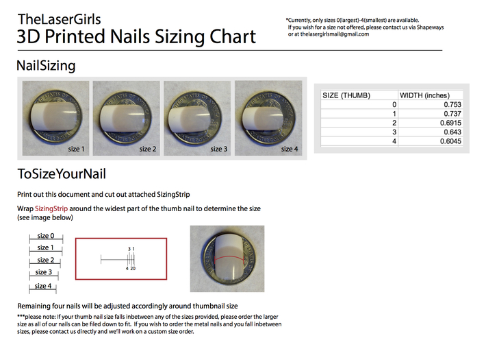 Cube Nails (Size 1)  3d printed DOWNLOAD THIS CHART HERE: https://www.dropbox.com/sh/ec9z2j5kbkhsmrr/NRj3pCqOZP