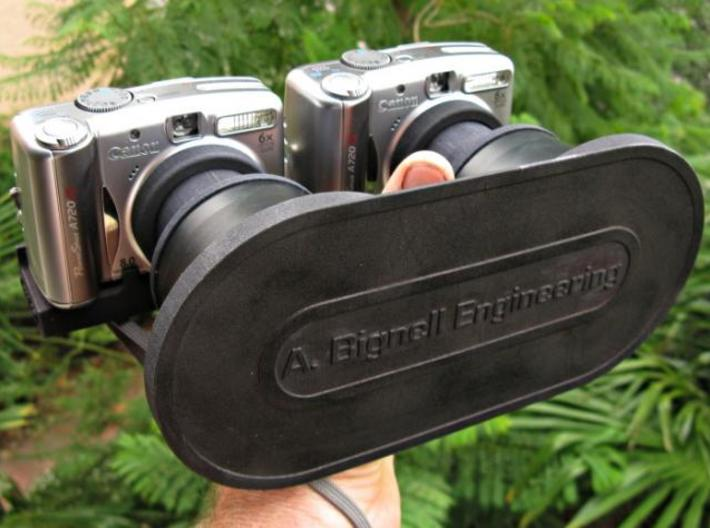 Twin Wide-angle Lens Cap 3d printed The lens cap in use