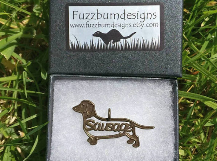 Sausage Dog Pendant or keychain 3d printed