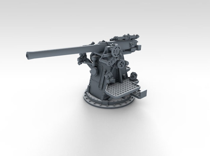 """1/500 RN 4""""/45 (10.2 cm) QF MKV MKIII x4 3d printed 3d render showing product detail"""