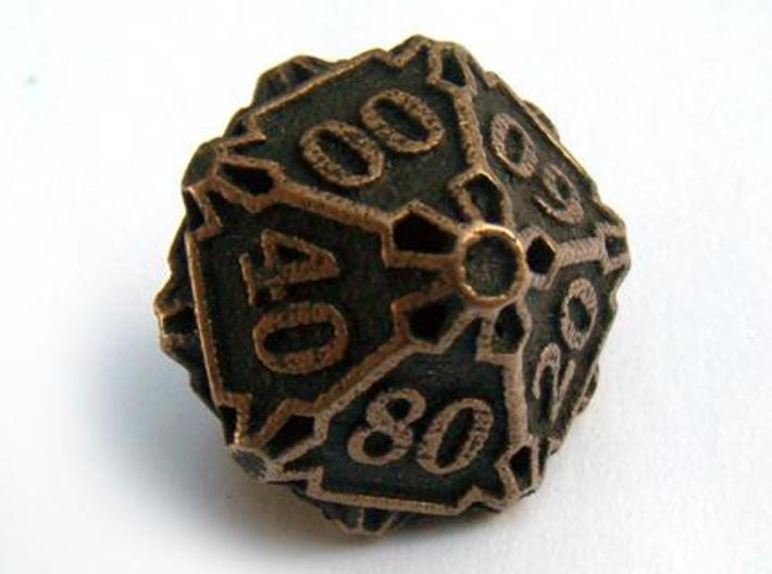 Large Premier Decader d10 3d printed In antique bronze glossy and inked