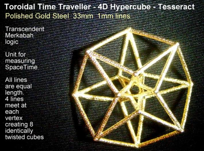Toroidal Hypercube 35mm 1mm Time Traveller 3d printed ASbsolutely gorgeous and affordable in Polished Gold Steel.