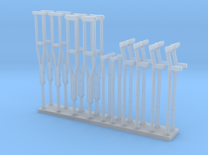 Crutches 01. O Scale (1:48) 3d printed