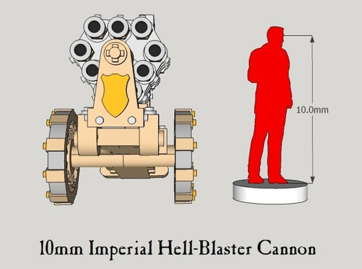 10mm Imperial Hell-Blaster Cannon (1pcs) 3d printed