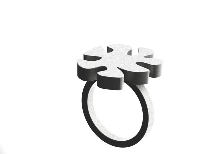 Asymmetric Ring  3d printed Matt Silver