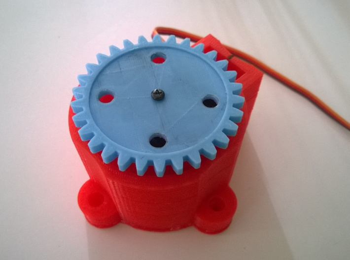Robot Base for Rio Rand Metal Gear Servo 3d printed May be used with a continuous servo to operate a geared mechanism