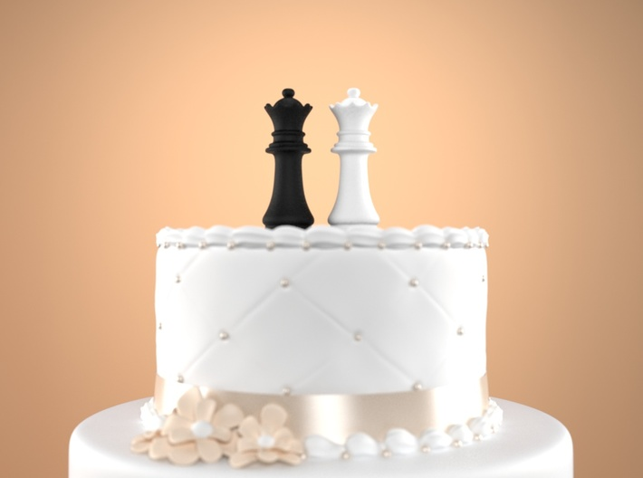 Chess Cake Topper (Queen and Queen) Black&White 3d printed
