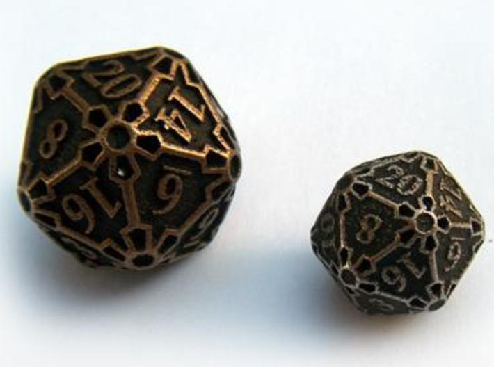 Large Die20 3d printed Compared to a standard-sized Die20