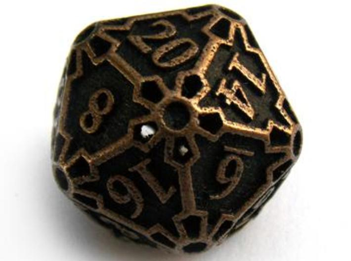 Large Premier Die20 3d printed In antique bronze glossy and inked