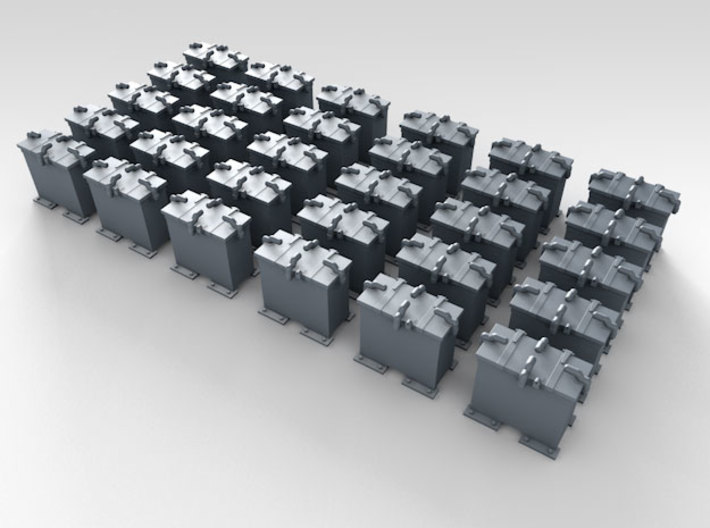 1/144 Scale 20mm Oerlikon Ready Use Lockers x30 3d printed 3d render showing product detail