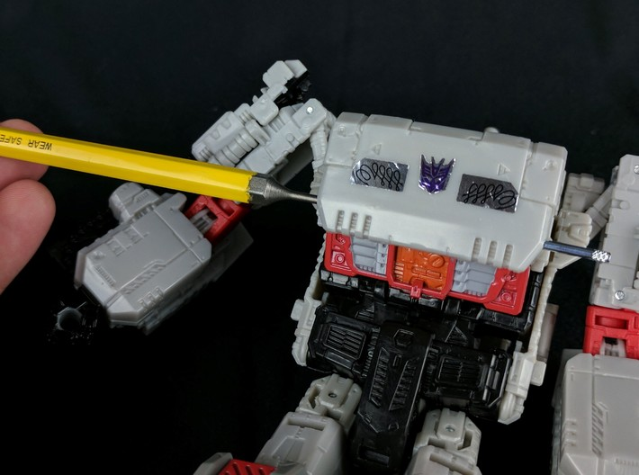 """MTMTE Autobot Megatron Chest 3d printed For best results, For easiest installation, I recommend the use of a 1/16"""" pin punch tool."""