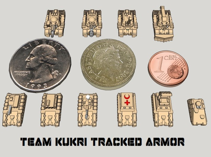 3mm Team Kukri Tracked Armor Sampler (10pcs) 3d printed