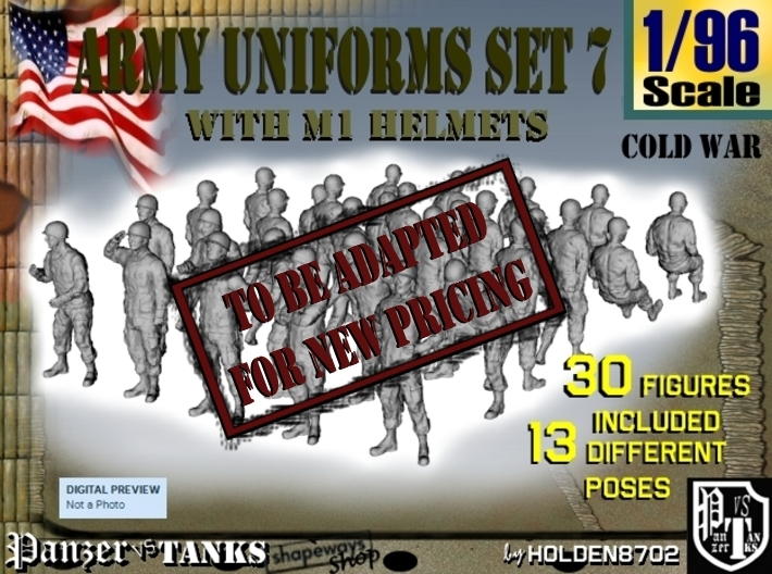 1-96 Army Modern Uniforms Set7 3d printed