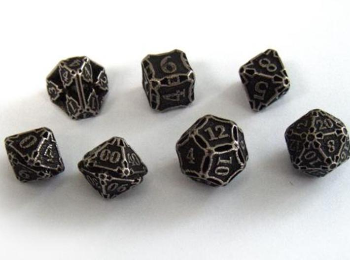 Dice Set with Decader 3d printed In stainless steel and inked