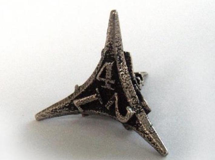 Caltrop d4 3d printed In stainless steel and inked