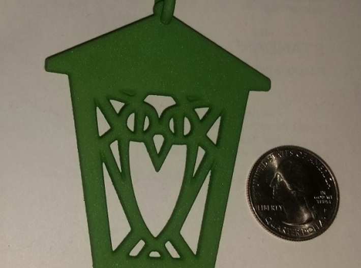 Owl Lantern Ornament 3d printed Actual ornament - with quarter for scale