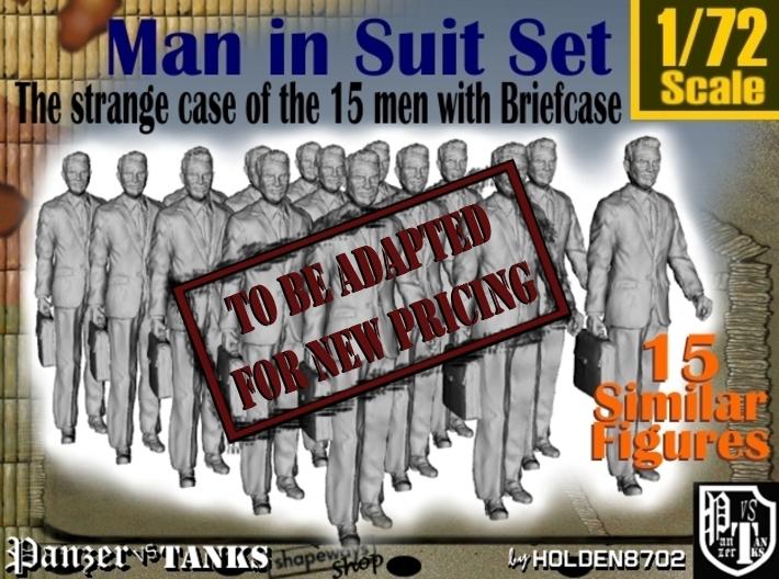 1/72 Man In Suit W/ Briefcase Set 3d printed