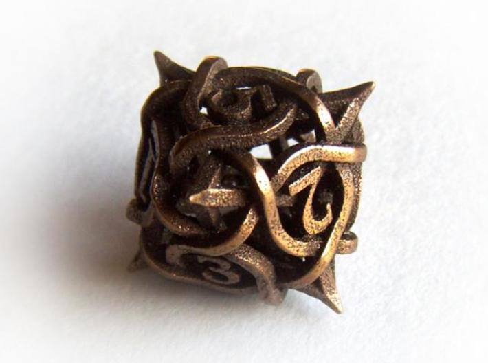 Thorn Die8 3d printed In antique bronze glossy
