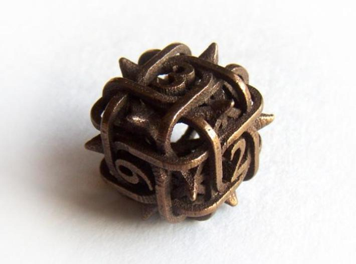 Thorn d6 3d printed In antique bronze glossy