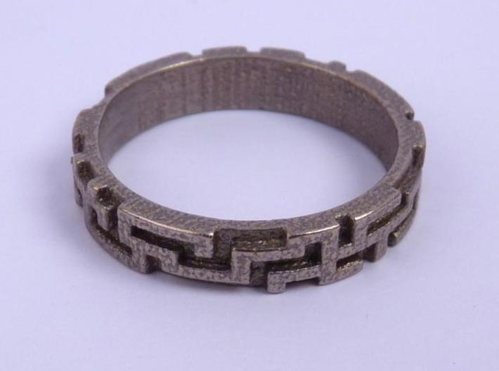 A maze ring (from $12.50) 3d printed Stainless Steel