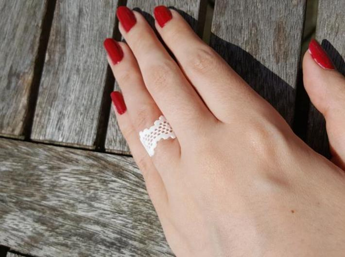 Honeycomb Band Edge Ring 3d printed White Strong & Flexible