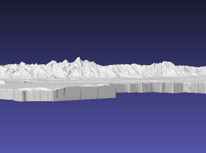 Grand Teton National Park, Wyoming, 1:100000 3d printed Low-angle view showing 1 inch of vertical relief