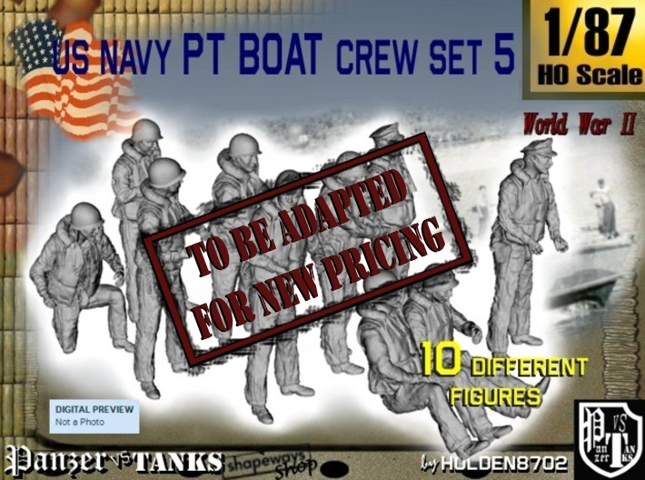 1/87 US Navy PT Boat Crew Set5 3d printed