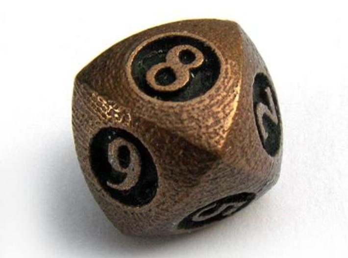 Overstuffed Die8 3d printed In antique bronze glossy and inked