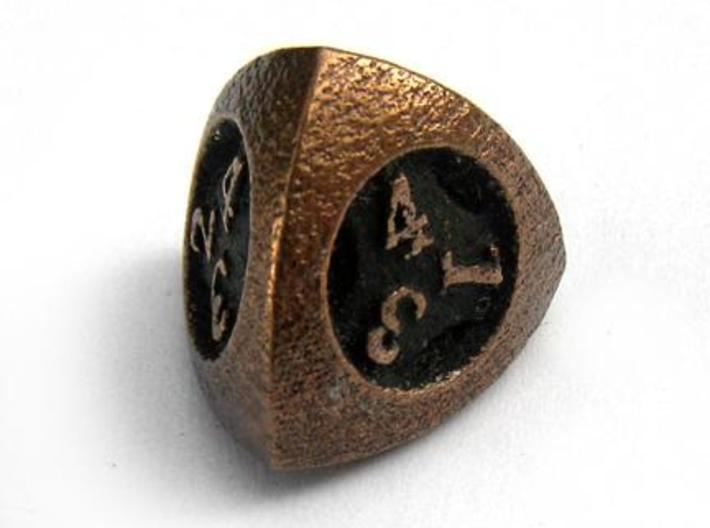 Overstuffed d4 3d printed In antique bronze glossy and inked