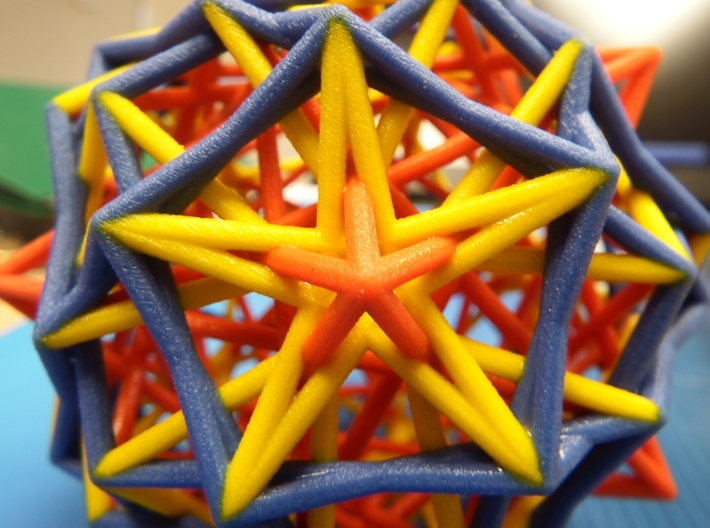 3 edges subsets of the pentagonal hexecontahedron 3d printed CLose-up