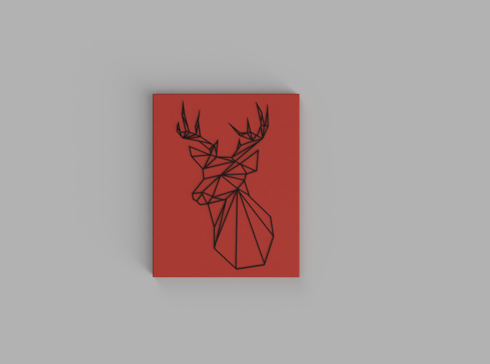 Stags Head Wall Art 3d printed Black, Red