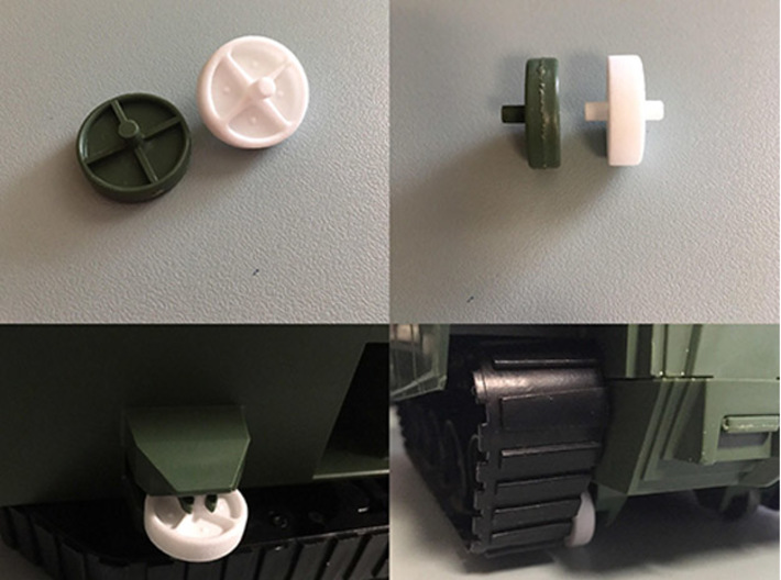 1985 Bridgelayer Replacement Wheel 3d printed Replacement wheel compared to original shown (Top). Replacement wheel installed on the Bridgelayer (Bottom).