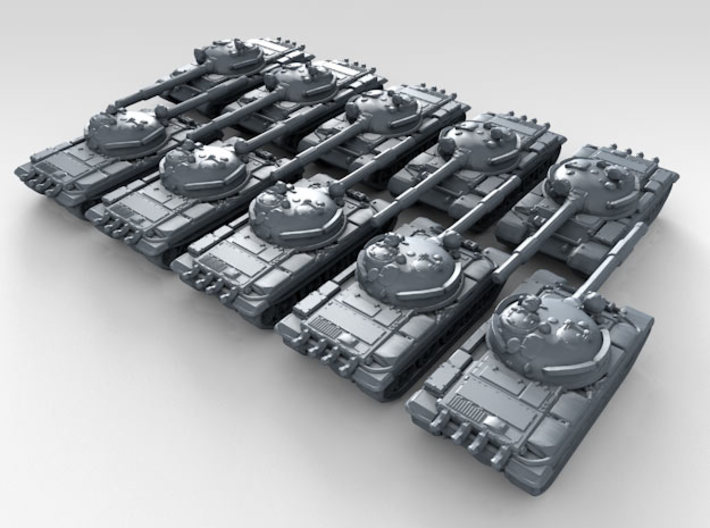 1/700 Russian T-62 Main Battle Tank x10 3d printed 3d render showing product detail