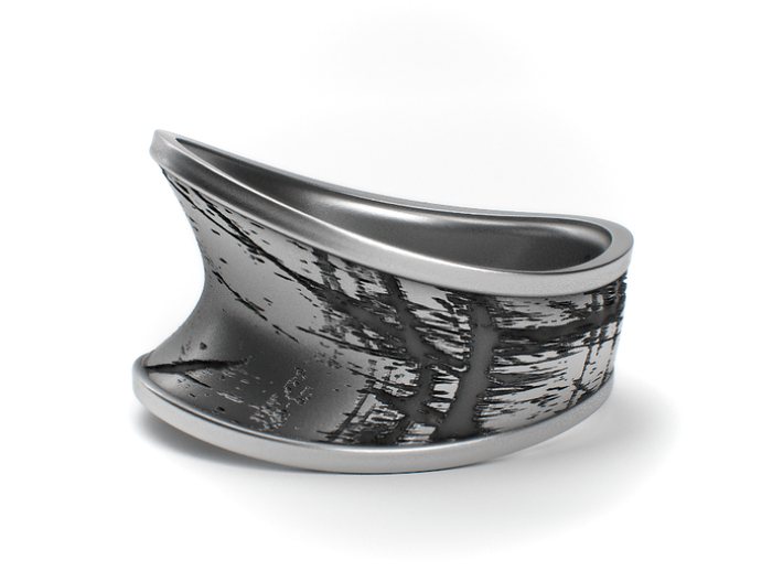 Scratched - Textured Sterling Silver Ring 3d printed Aged silver, available through my website https://shop.pj3dartist.com/products/scratched-textured-ring