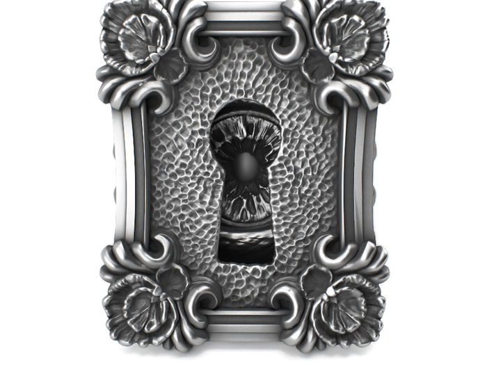 keyhole baroque huge detailed sterling silver ri 3d printed it is available on aged silver