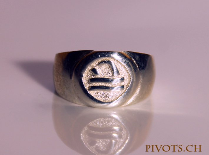 4 Elements - Water Ring 3d printed Polished Silver