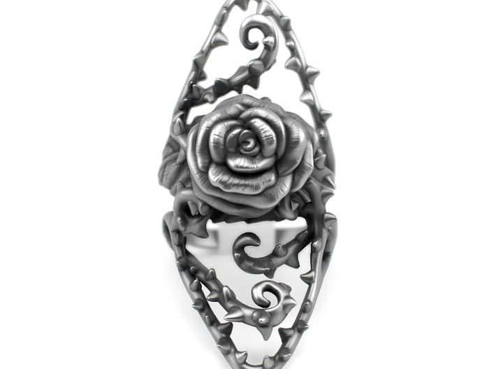 Dangerous - Silver Rose Ring 3d printed Aged silver option available through my website https://shop.pj3dartist.com/collections/jewelry/products/dangerous-detailed-rose
