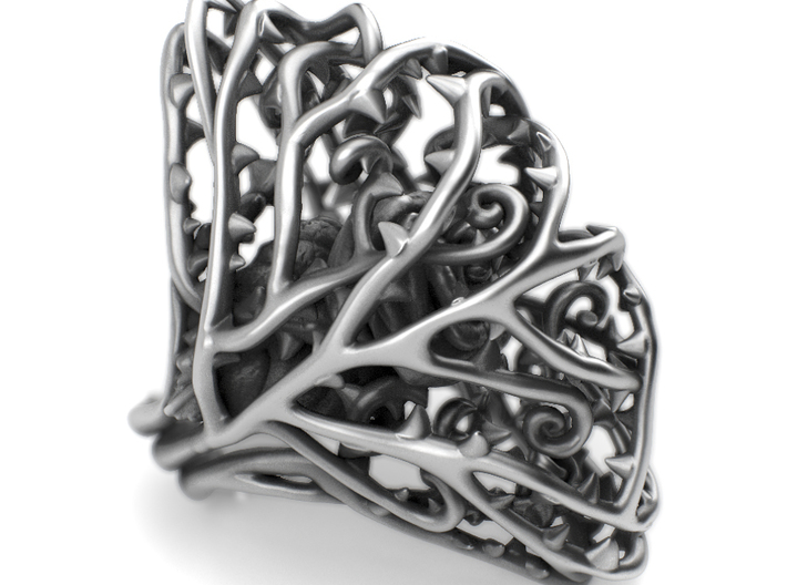 Dangerous Heavy - Rose wrapped Precious Metal 3d printed Aged silver option here: https://shop.pj3dartist.com/collections/jewelry/products/dangerous-heavy-detailed-rose